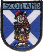 Scotland Saltire Piper Bagpipe Player Embroidered Badge (a510)